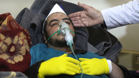 A Syrian man receives hospital treatment in Maaret al-Noman, after a suspected toxic gas attack in Khan Shaykhun, on April 4, 2017 © Mohamed al-Bakour