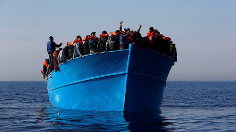Migrants on a boat in international waters off the coast of Sabratha in Libya, April 15, 2017. © Darrin Zammit Lupi