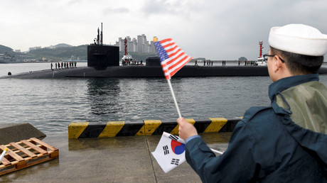 The Ohio-class guided-missile submarine USS Michigan arrives for a regularly scheduled port visit while conducting routine patrols throughout the Western Pacific in Busan, South Korea, April 24, 2017. © Jermaine Ralliford