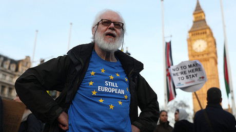 A demonstrator wears a European Union themed T-shirt during a protest, London, Britain, March 13, 2017. © Neil Hall