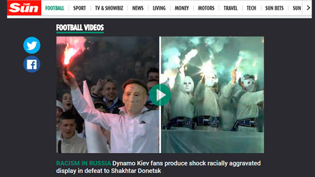 Sun 'exposes racism in Russia' with video of far-right Ukrainian football fans