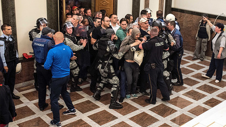 Scores injured as Macedonian nationalists storm parliament after election of Albanian speaker