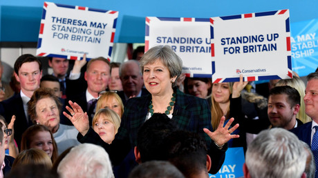Britain's Prime Minister Theresa May speaks to supporters at a campaign event at Shine Centre in Leeds, Britain, April 27, 2017. © Anthony Devlin