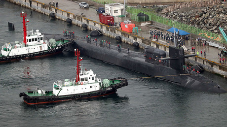 The USS Michigan, an Ohio-class nuclear-powered submarine, arrives at a naval base in Busan, South Korea, April 25, 2017. © Cho Jueong-ho