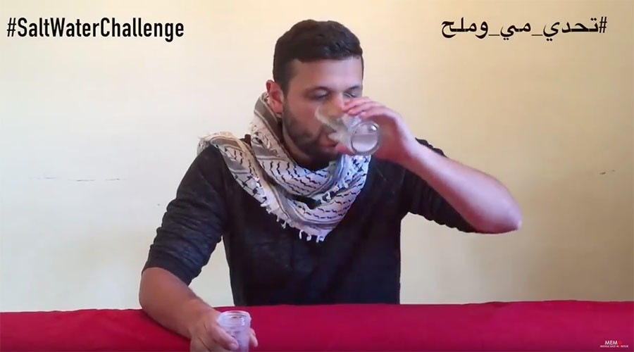 Worldwide #SaltwaterChallenge: Massive support for jailed Palestinians on hunger strike (VIDEO)