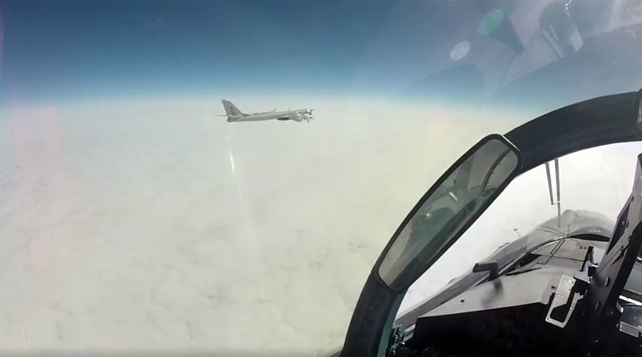 Footage of Russian bomber flyby near Alaska published by military