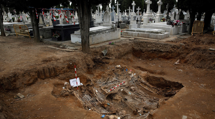 The remains of bodies during the exhumation of the one of the three mass graves that contain in total the remains of around 200 bodies believed to have been killed by Spain's late dictator Francisco Franco's forces during the civil war, at El Carmen'