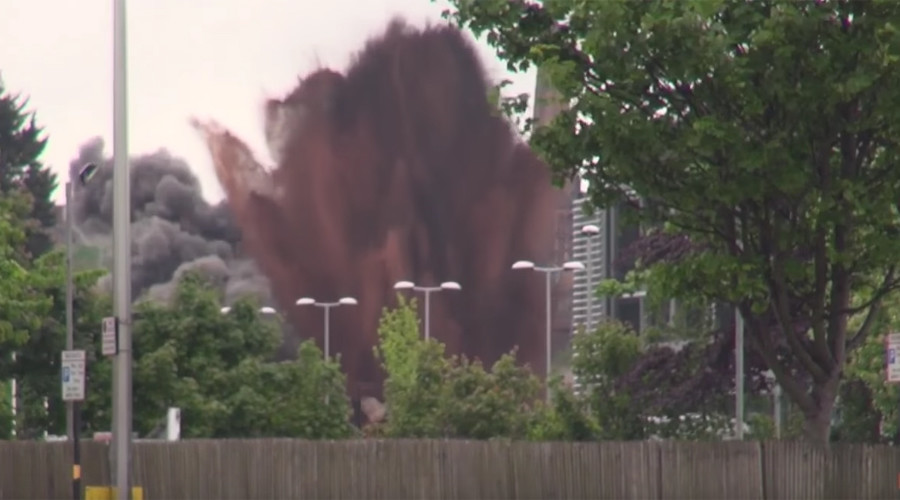 Blast from the past: Drone footage shows spectacular detonation of WW2 bomb (VIDEO)