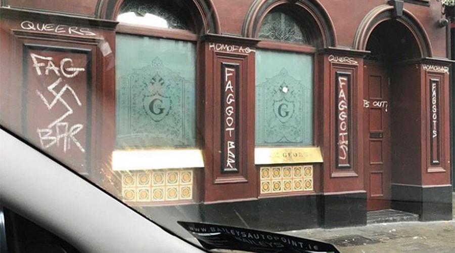 Irish gay bar defaced with Nazi & homophobic graffiti (PHOTOS)