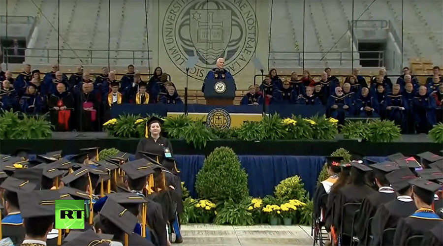 Mike Pence Notre Dame speech marred by student walk-out  (VIDEO)