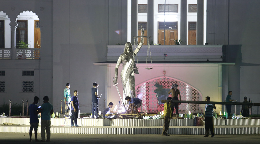 'Un-Islamic' Lady Justice statue dismantled in Bangladesh