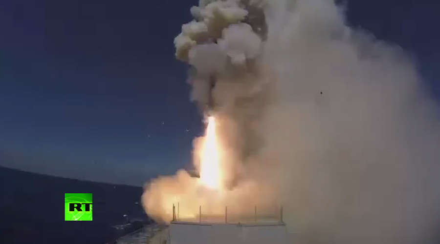 Russian Submarine-Launched Kalibr Cruise Missile Hit ISIS Equipment Base