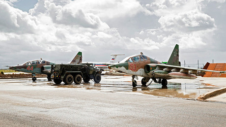 Sukhoi Su-25 ground-attack planes at Hmeimim airbase in Syria © Vadim Grishankin