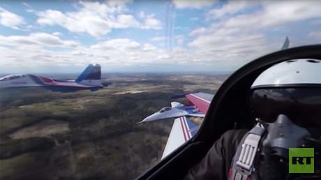 Rehearsal for V-Day Parade 360: Swifts & Russian Knights aerobatic teams