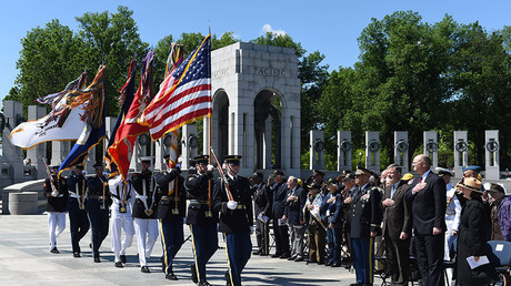 People take part in the Victory in Europe Day Ceremony at the National World War II Memorial in Washington D.C., the United States, May 8, 2017. ©Global Look Press
