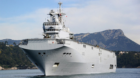 FILE PHOTO: The French Mistral high-tech amphibious helicopter carrier assault © AFP