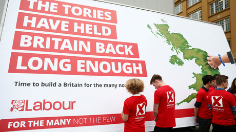 Campaigners stand during the unveiling of an election poster for Britain's opposition Labour Party in London, Britain May 11, 2017. © Neil Hall