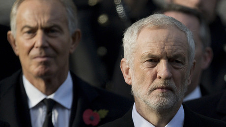 Former British prime minister Tony Blair and Britain's opposition Labour Party Leader Jeremy Corbyn ©Justin Tallis