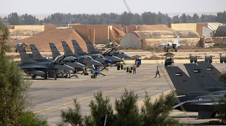 FILE PHOTO: F-16 Fighting Falcon aircraft at Muwaffaq Salti Air Base, Azraq, Jordan. © Caycee Cook
