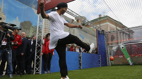 Brazilian football legend Ronaldinho at the FIFA Confederations Cup 2017 Park in St. Petersburg.