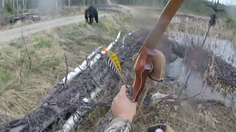 Man v bear: Stomach-churning moment hunter fights for life (VIDEO)
