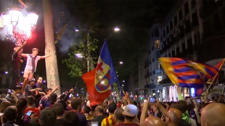 Fans & flares: FC Barcelona supporters go wild after final match