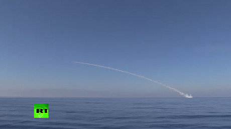Video of Russian Navy firing cruise missiles on ISIS positions near Palmyra