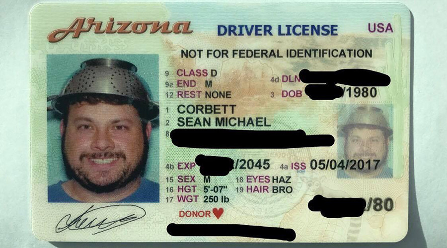 Flying Spaghetti Monster devotee wins right to wear colander on head in ID