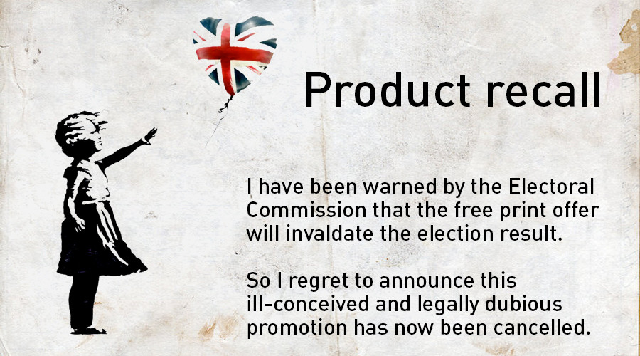 Will police arrest Banksy for offering anti-Tory voters a limited edition print?