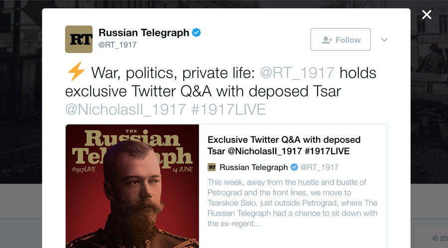 #1917LIVE: Deposed Tsar Nicholas II advocates for continuing war in Twitter Q&A