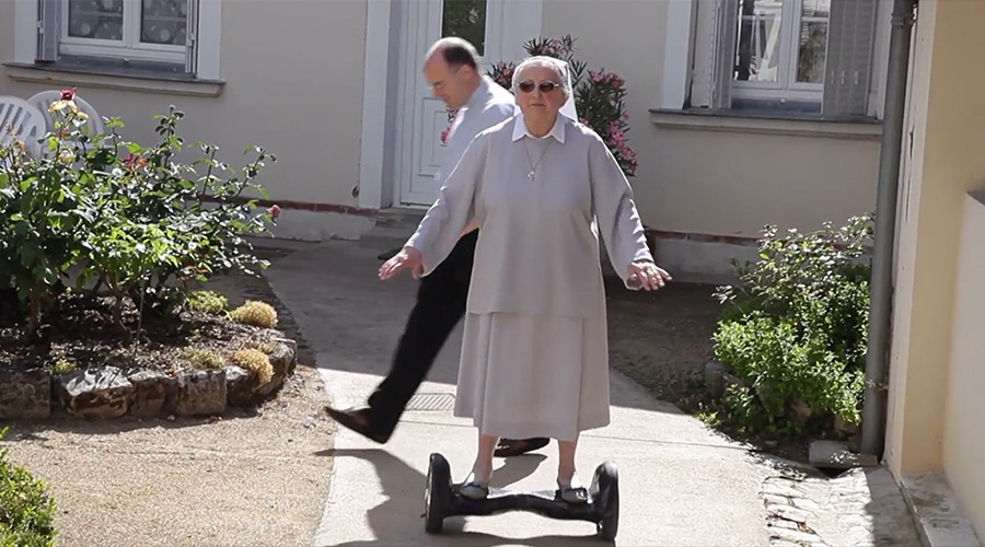 You go sister: New hoverboard has French nun flying high (VIDEO)