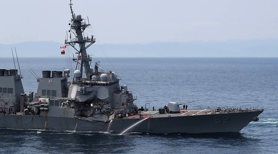 Cargo ship that hit US destroyer near Japan was on autopilot, data shows