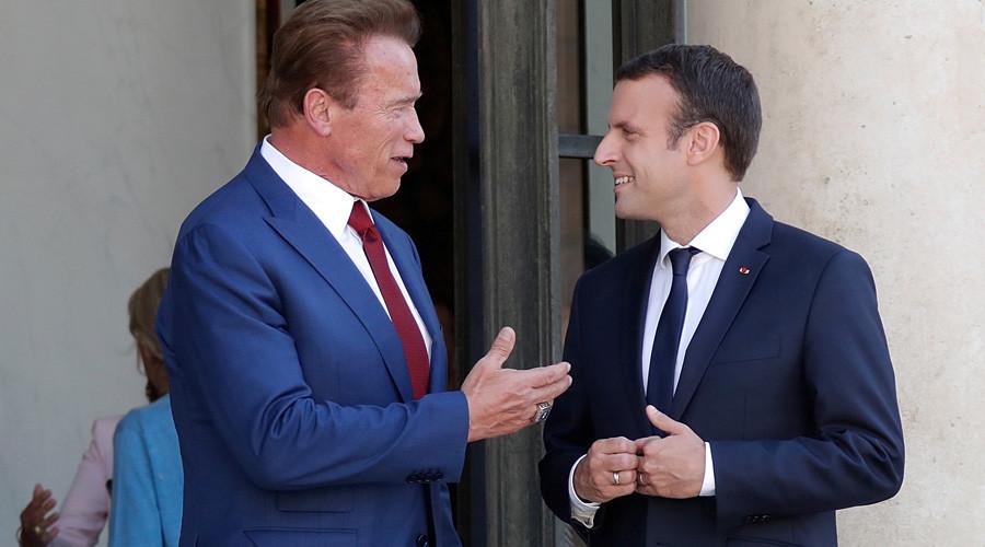 Posse politics: Schwarzenegger & Macron join forces to troll Trump (VIDEO)