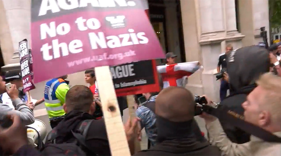 Arrests made as far-right and anti-fascist protesters clash in London (VIDEO)