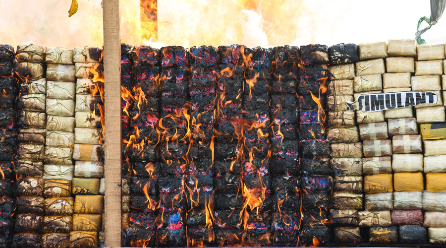 $1bn worth of seized narcotics spectacularly burnt by Thailand, Myanmar & Cambodia
