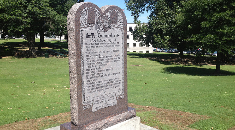 Man arrested for ramming his car into Ten Commandments monument in Arkansas (VIDEO)