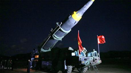North Korean leader Kim Jong Un inspects the long-range strategic ballistic rocket Hwasong-12 © Reuters