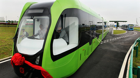 World's first trackless train runs on road on June 2, 2017 in Zhuzhou, China ©  VCG / Getty Images