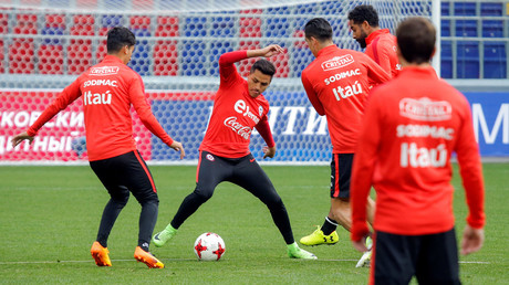 Chile team members during a training session in Moscow © Maxim Shemetov