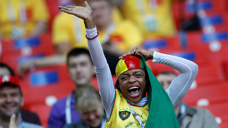 A Cameroon fan before the match in Moscow, June 18, 2017. © Carl Recine