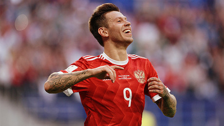 Russia's Fedor Smolov celebrates a goal during the 2017 FIFA Confederations Cup match between Russia and New Zealand. ©