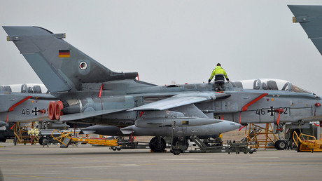 FILE PHOTO A technician works on a German Tornado jet at the air base in Incirlik, Turkey © Tobias Schwarz