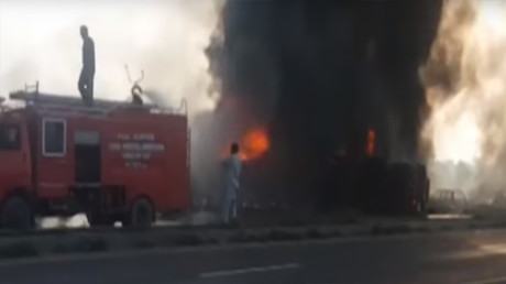 100+ people burn to death after oil tanker flips & explodes in Pakistan (GRAPHIC)