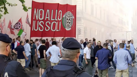 Far-right activists march against nationality law for 2nd generation immigrants in Italy