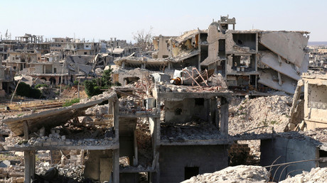 A general view shows damaged buildings in a rebel-held part of the southern city of Deraa, Syria June 22, 2017 © Alaa Faqir