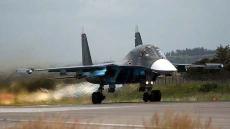 FILE PHOTO. A Russian Su-30 fighter aircraft takes off from the Hmeimim airbase in Syria. © Maksim Blinov