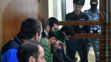 FILE PHOTO: Defendants in the Boris Nemtsov murder case at the Moscow District Military Court. ©  Mikhail Voskresenskiy
