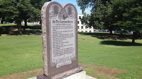 A statue of the Ten Commandments is seen after it was installed on the grounds of the state Capitol in Little Rock, Arkansas, US June 27, 2017 © Steve Barnes