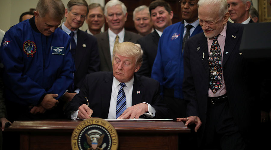 'Infinity, right?' Trump relaunches iconic National Space Council with Buzz Aldrin by his side
