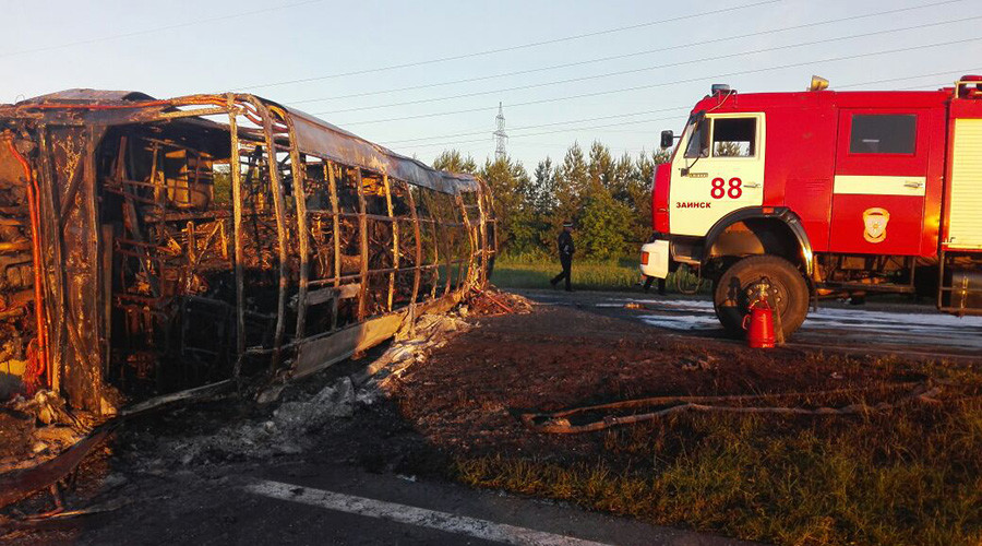 14 people, incl. 4 children, killed as bus collides with truck in Tatarstan, Russia
